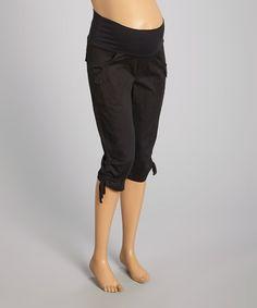 Look at this #zulilyfind! Black Over-Belly Maternity Capri Pants - Women #zulilyfinds