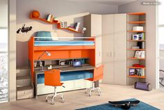 This bed features a retractable desk, storage drawers under the bed and in the stairs, and a matching wardrobe and shelving that fit neatly into the corner. It could be a great option when space is at a premium.  http://www.madeinitalykitchens.com/members/cpollastrelli/pts.html#/1//