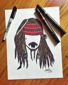 Zentangle Captain Jack Sparrow por ZenspireDesigns en Etsy