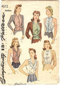 vintage sewing patterns MOMSPatterns Vintage Sewing Patterns - Simplicity 4572 Vintage Sewing Pattern FANTASTIC Era Wartime Dickie Dickey Blouse, Topper, Sun Back Vestee Set Size M - Retro Mode, Vintage Mode, Simplicity Sewing Patterns, Vintage Sewing Patterns, 1940s Fashion, Vintage Fashion, Fashion Sewing, Fashion Fashion, Vintage Dresses