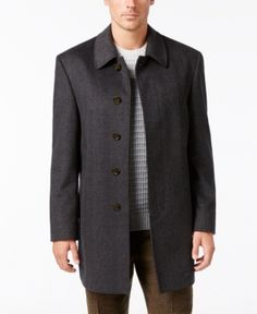Lauren Ralph Lauren Men's Big & Tall Classic-Fit Herringbone Overcoat - Charcoal 60R