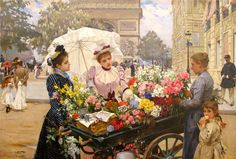 The Flower Seller by Louis-Marie de Schryver. arc_de_triomphe_louis_marie_de_schryver_the_flower_seller_champs_elysees. Belle Epoque, Maurice Utrillo, Decoupage, Flowers For Sale, Georges Seurat, Flower Cart, Edward Hopper, Painting People, Champs Elysees