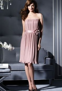 Discount Satin Strapless A-Line Short Bridesmaid Dress With Handmade Flowers On Sash Free Measurement