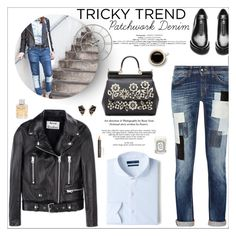 """""""Tricky Trend: Patchwork Denim"""" by little-curly-juli ❤ liked on Polyvore featuring moda, Just Cavalli, MANGO, Acne Studios, Nak Armstrong, Dolce&Gabbana, Diptyque, Jimmy Choo, Anastasia Beverly Hills e patchwork"""