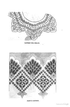 1855 Peterson's Magazine - Embroidery Patterns for collar, sleeves