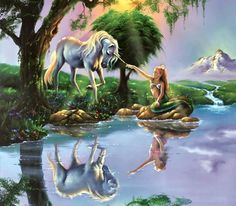 If Only You Believe fC - beautiful, reflection, abstract, art, water, artwork, fantasy, mermaid, painting, equine