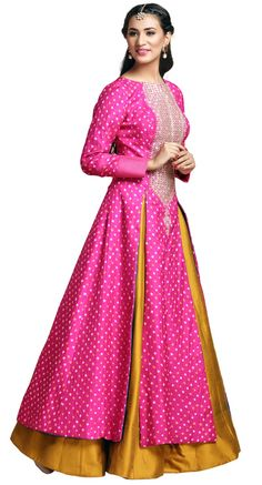 jacket lehenga , mustard yellow slit lehenga , anarkali lehenga , jacket , pink full sleeves, winter mehendi outfit , mother of the bride outfit , yellow and pink outfit...in love wid dis combination