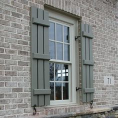 Photos of Exterior Window Shutters built by Sunbelt Shutters. These photos are typical window shutter installations featuring our Louvered, Board and Batten, and Rasised Panel Shutters. Cottage Shutters, Window Shutters Exterior, Outdoor Shutters, Farmhouse Shutters, Wood Shutters, Home Depot Shutters, Houses With Shutters, Outside Shutters, Wood Projects