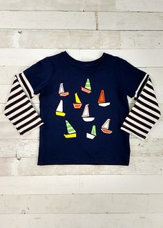 Long sleeve abstract preppy sale boats tee with striped sleeves. Toddler Boutique Clothing, Wholesale Children's Boutique Clothing, Girls Boutique, Cut Out Leggings, Denim Overall Dress, Cute Girl Outfits, Toddler Dress, Preppy, Boats