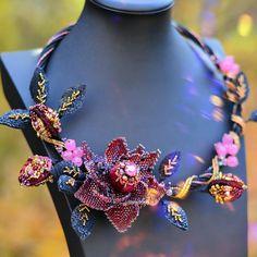 Unusual jewelry from beads and Swarovski crystals by PutilinaJewelry Beaded Necklaces, Beaded Jewelry, Jewellery, Beadwork Designs, Jewelry Tattoo, Peyote Beading, Unusual Jewelry, Flower Necklace, Bead Art