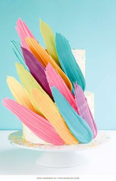 Brushstroke Cake - how to make a Kalabasa inspired feather cake using candy melts and everyday tools. Cheap Clean Eating, Clean Eating Snacks, Brushstroke Cake, Feather Cake, Cold Cake, Ricotta Cake, Cake Blog, Salty Cake, Cake Decorating Tools