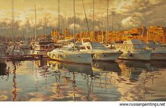 Russian Paintings Gallery - Adamow Alexis - 'Yachts'