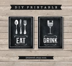 Eat & Drink Printables Chalkboard Art by LittleWebWritingHood, $10.00