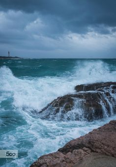 Dramatic south storm by fgombert  autumn beach beautiful clouds coast light mediterranean mediterranee ocean rocks sea seascape seasid