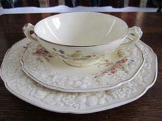 'Rosalie' soup coupe and plates by Crown Ducal English China, China Cups And Saucers, Plates And Bowls, Vintage China, Cupboards, Cup And Saucer, Trays, Tea Cups, Crown