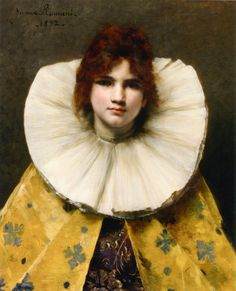 "Juana Romani (1869-1924) Young Girl with a Ruffled Collar Oil on panel -1892 53 x 64.5 cm (20.87"" x 25.39"") Private collection"