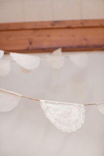love the doilys and galvanized decor