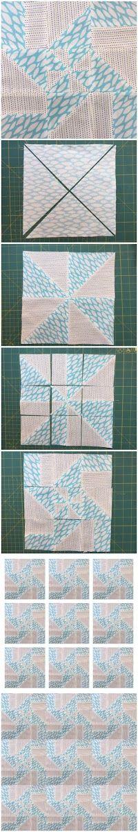 How to make a disappearing pinwheel block - free tutorial - This block has 11 variations