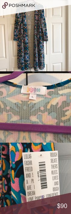 LULAROE Multi Color Print Sarah - NEW Size L. Made in the USA. 96/4 Poly/ Spandex. Turquoise, Pink, White, Bright Blue , Orange and Black( or it's a Very Dark Blue ) . Still Beautiful and HTF Pattern !!! LuLaRoe Sweaters Cardigans
