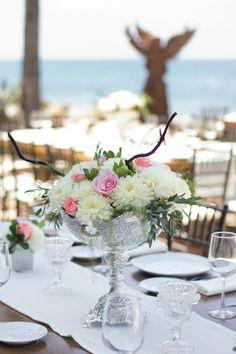Centros de mesa, tonos claros y plata, ideal para playa - GS Events Puerto Vallarta - Riviera Nayarit