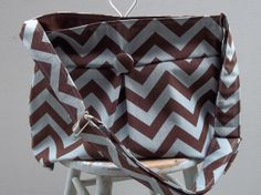 Blue Brown Chevron Bag  Large  6 pockets  Key Fob by retrofied, $88.00