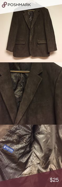 Suede sport coat Like new faux suede,shell is 100% polyester stafford sport coat, size 44 R Stafford Suits & Blazers Sport Coats & Blazers