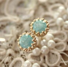 $43 Blue star earrings mint sea foam petit- blue zircon stone 14k goldfield  Earrings classic Elegant style