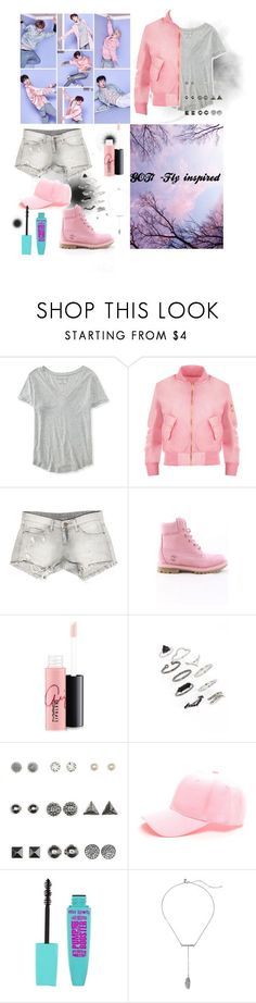 """Got7-'Fly' teaser inspired (pink version)"" by lina0401 ❤ liked on Polyvore featuring Aéropostale, WearAll, Sans Souci, Timberland, MAC Cosmetics, Topshop, Charlotte Russe, Rebecca Minkoff, Inspired and kpop"