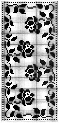 Filet Crochet Charts, Cross Stitch Charts, Cross Stitch Designs, Cross Stitch Patterns, Doily Patterns, Crochet Patterns, Yarn Projects, Cross Stitch Flowers, Double Knitting