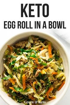 Easy one-pan Keto Egg Roll in a Bowl recipe is delicious and low-carb. Can be made Paleo and Whole 30 too! Packed with veggies and flavor, this recipe will quickly become one of your weeknight favorites! Keto Egg Roll in a Bowl (Crack Slaw) - Green Healthy Dinner Recipes For Weight Loss, Healthy Diet Recipes, Ketogenic Recipes, Ketogenic Diet, Keto Snacks, Recipes Dinner, Lunch Recipes, Paleo Diet, Dessert Recipes