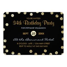 34th Birthday Party Gold Glitter Confetti Card