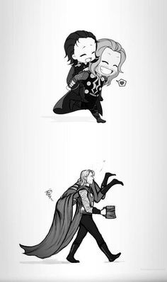 """ORIGINAL PINNER: All I can hear is Loki's little baby voice from the top picture saying, """"I wuv you bwufer."""" AND NOW: all I can hear is Loki yelling """"Thor, you big oaf!!! You put me down right this instant!!! I said put me down!!!"""" """"No dear brother, I cannot do that. I must escort you back to Asgard. Now stop squirming."""""""