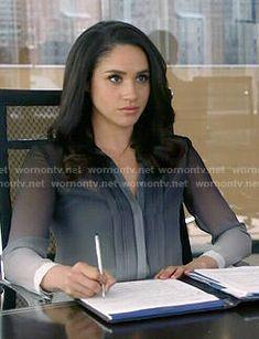 Rachel's ombre blouse on Suits.  Outfit Details: http://wornontv.net/50668/ #Suits
