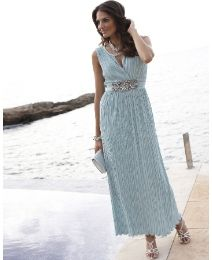 Joanna Hope Crystal Pleated Maxi Dress