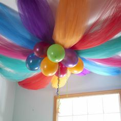birthday party ceiling decoration - colorful tulle