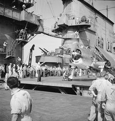 centreforaviation:  F6F-3 Hellcat aircraft on the flight deck of USS Saratoga, November 1943.