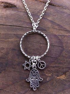 Hamsa Hand Necklace  BOHO Necklace  World by RedGypsyJewelry