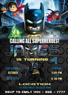 lego batman birthday invitations - Custom printing invitations Welcome to Best Birthday Party This is a s Lego Batman Movie Birthday invitation will be a perfect addition to celebrate your Lego Batman Invitations, Spiderman Birthday Invitations, Lego Batman Birthday, Lego Batman Party, Lego Birthday Party, Toy Story Birthday, Printable Birthday Invitations, Superhero Cake, Cake Birthday