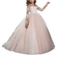 0589b4ccc6572 MarryingHoney Lisa Lace Princess Ball Gown Flower Girl Dress Holy First  Communion Dress