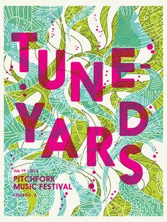 AD - I love hot pink over more subtle colours. catharsisprintworks: Our official Tune-yards poster from Pitchfork Music Festival 2014 is on sale now! Graphic Design Posters, Graphic Design Typography, Graphic Design Inspiration, Poster Designs, Style Inspiration, Buskers Festival, Band Posters, Music Posters, Music Festival Posters