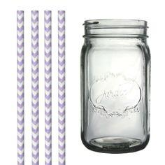 Dress My Cupcake DMC34960 Clear Vintage Jardin Mason Jar with Lilac Lavender Chevron Straws, 32-Ounce - http://cookware.everythingreviews.net/8630/dress-my-cupcake-dmc34960-clear-vintage-jardin-mason-jar-with-lilac-lavender-chevron-straws-32-ounce.html