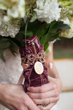 velvet bouquet tie with monogram - photo by Archetype Studio http://ruffledblog.com/at-home-wedding-in-texas