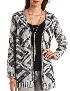 Marled Geo Open Cardigan Sweater: Charlotte Russe