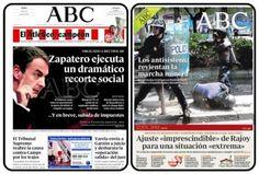 Portades del diari ABC amb les retallades de Zapatero i de Rajoy