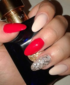 Almond nails#red nails#my new