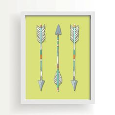 arrows native american indian green white large by PaperAndCanvas, $12.00