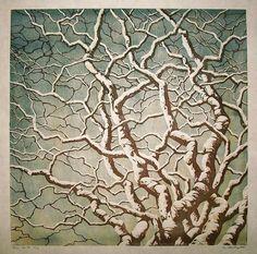"""Tree No. 18"" reduction linocut by Andrea Starkey. http://www.starkeyart.com/ Tags: Linocut, Cut, Print, Linoleum, Lino, Carving, Block, Woodcut, Helen Elstone, Tree, Branches."
