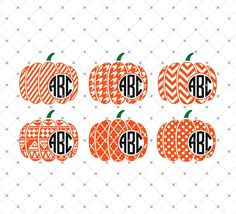 Patterned Pumpkin Monogram Frame SVG Cut Files for Cricut and Silhouette
