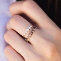 Wish | Women 3 in 1 Ring Inlaid Black and White Diamonds Stacked Party Rings