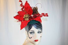 Red Poinsettia Fascinator Hat Christmas by AuntBeasBling on Etsy c17cc2fa31d